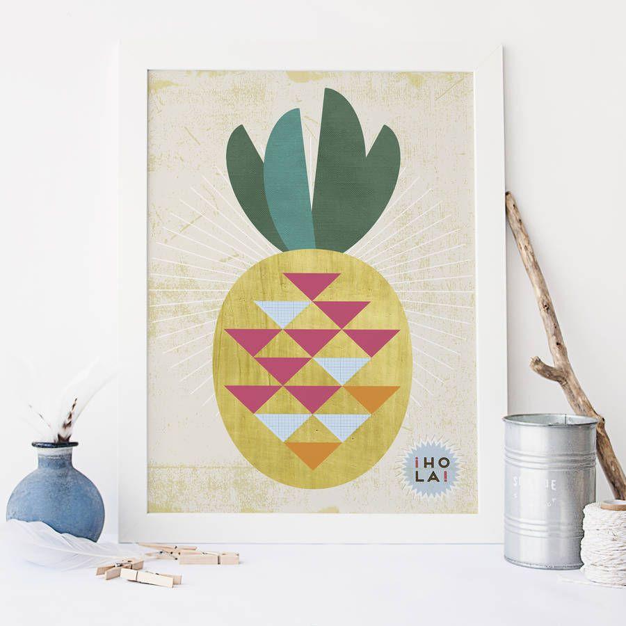 Kitchen Wall Art Pineapple Print
