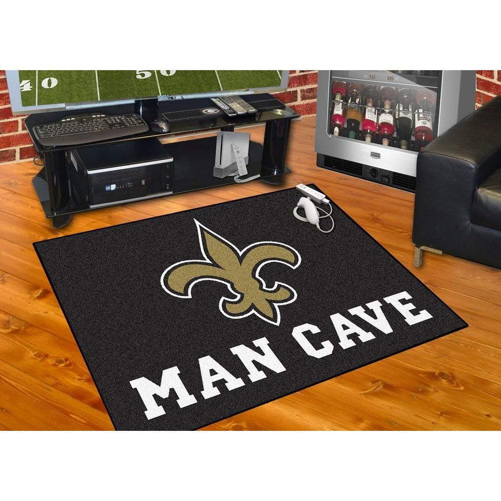 Fanmats New Orleans Saints Black Man Cave 3 Ft X 4 Ft Area Rug 14336 The Home Depot In 2021 Man Cave Area Rugs Pittsburgh Steelers Man Cave Carolina Panthers