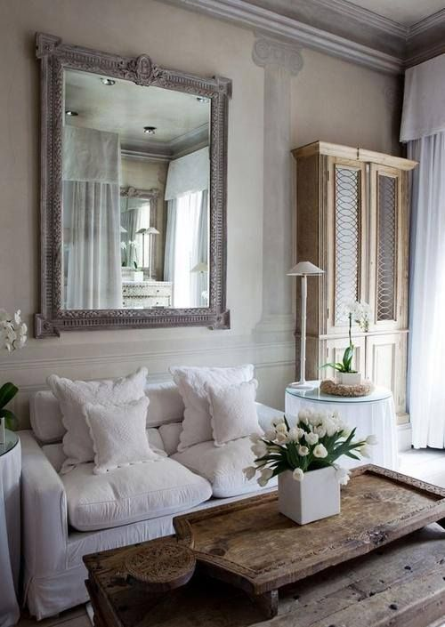 Love The Grey Wood Mirror And The Layering Of The Large Wood Tray On The C French Country Living Room Country Living Room French Country Decorating Living Room