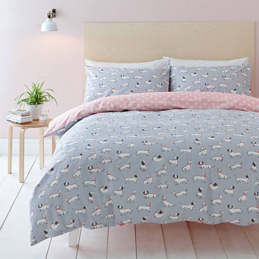 Sausage Dog Reversible Quilt Duvet Cover Poly-Cotton Size Single Double King New