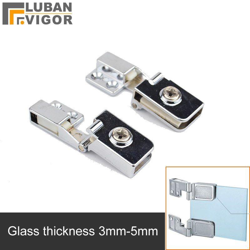 For Glass Thickness 3 5mmglass Door Hinge Clamp Clipszinc Alloyno Hole For Wine Cooler Cabinetsshowcase Hingehardware Glass Door Hinges Door Hinges Glass Door