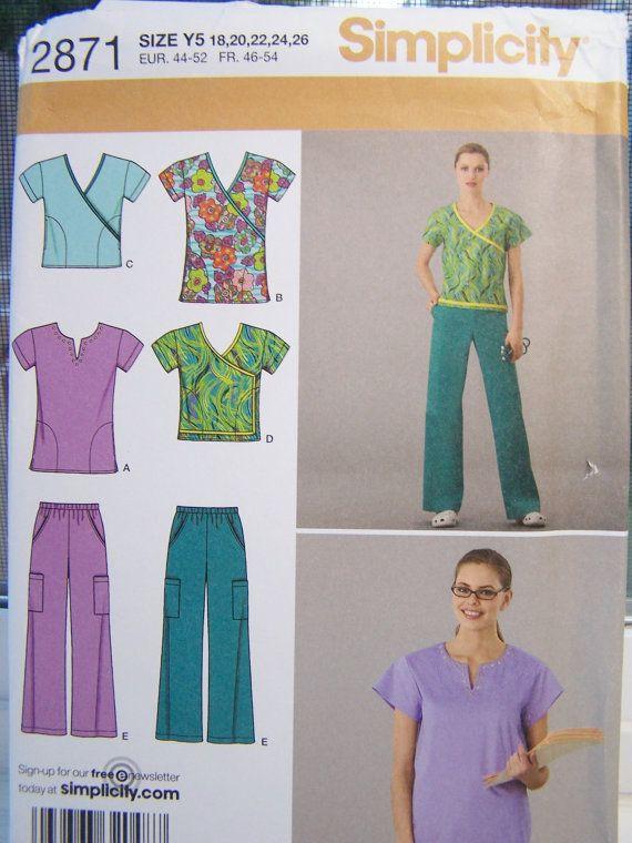 Simplicity 2871 Women\'s Sewing Pattern, Wrap Scrub Top, Scrub Tunic ...
