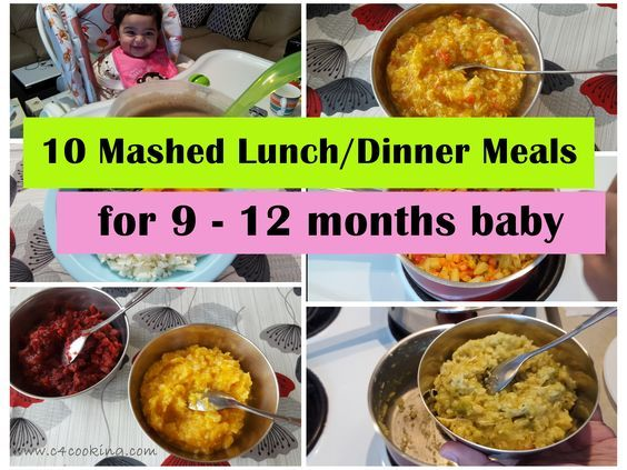 10 Mashed Meals for 9-12 months baby.