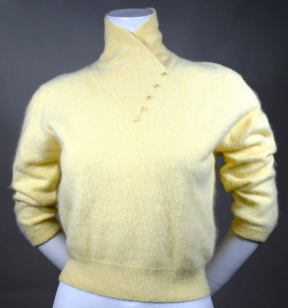 SOFT & FLUFFY ANGORA!! BUTTER YELLOW PULLOVER ANGORA SWEATER ...
