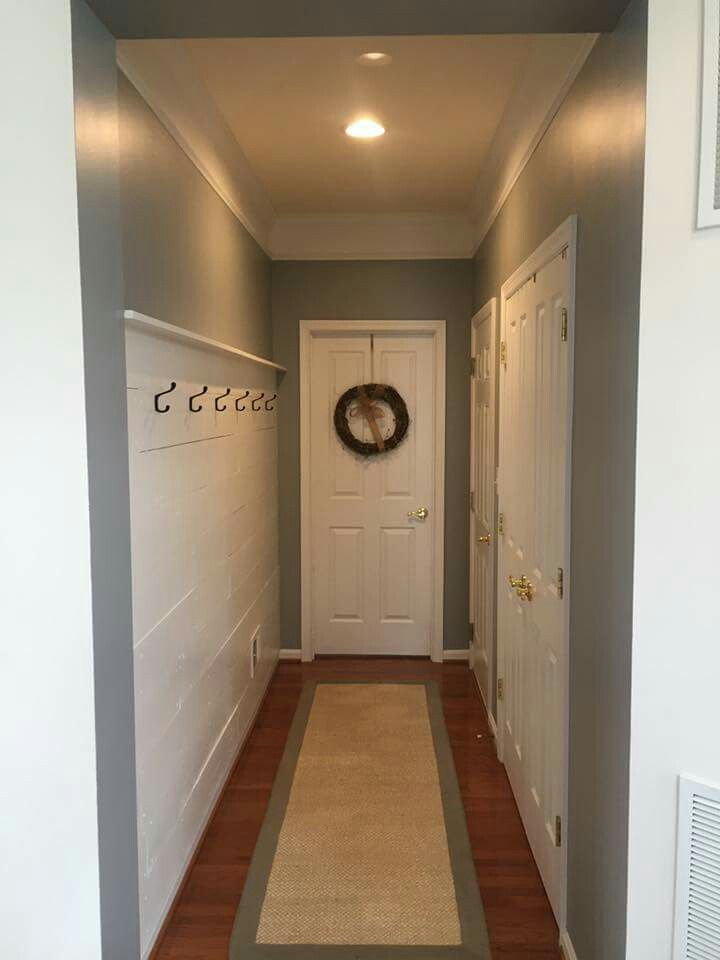 Functional Shiplap Accent Wall In Hallway Shiplap And