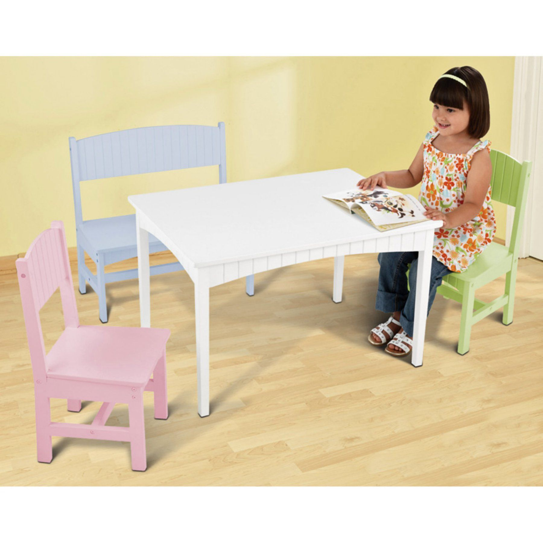Awe Inspiring Kidkraft Nantucket Table With Bench And 2 Chairs Pastel Machost Co Dining Chair Design Ideas Machostcouk