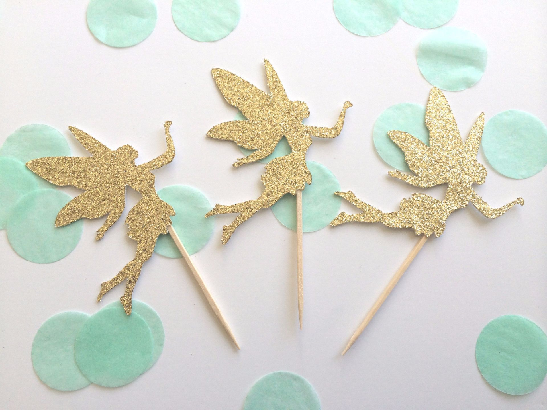 Gold Glitter Fairy Cupcake Toppers Birthday Cupcake Topper Gold
