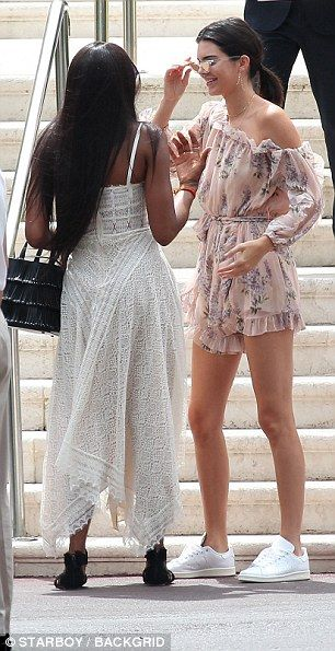 1865fc2db0c6 Pals  The 21-year-old looked delighted to see her friend as they met up in  the French resort