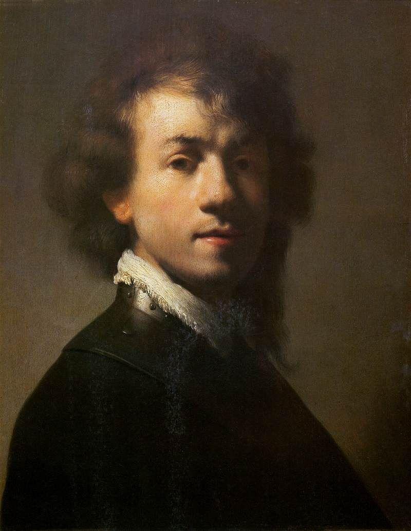 "REMBRANDT ""Self-Portrait with Lace Collar"" c. 1629, Oil on canvas, 38 cm x 29 cm, Mauritshuis, The Hague"