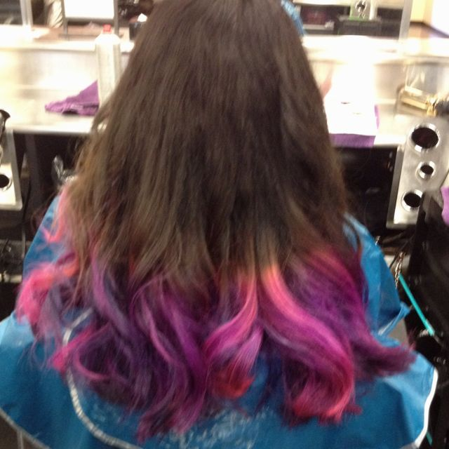 Pink Blue And Purple Tips On Dark Brown Hair Cute Hair Colors Dark Brown Hair Purple Tips