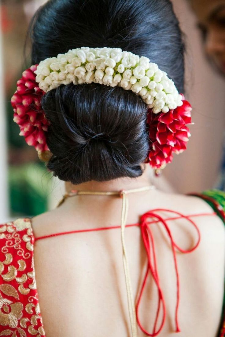 Indian Bridal Hairstyles - Dahlia and Gajra bridal hairstyle for the wedding | W..., #bridal ...