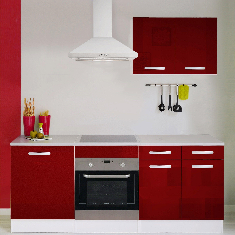 Cuisine Economique Rouge H 240 X L 200 X P 60 Cm Meuble Cuisine Cuisine Rouge Et Meuble Bas Cuisine