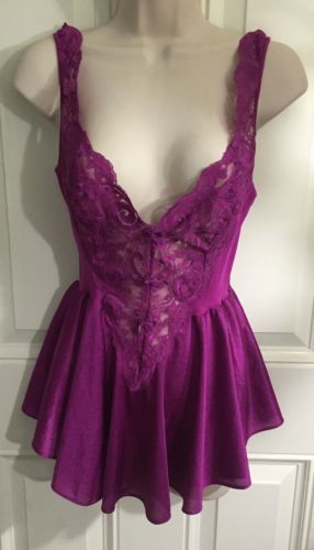 Sexy-Vintage-Short-Length-Olga-90470-Violet-Lace-Nightgown-Size-Large  39 8864a704b