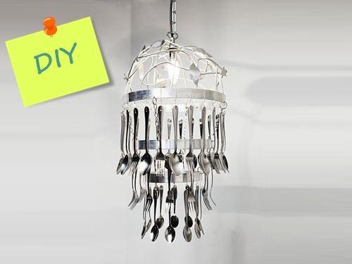 Cómo hacer una lámpara de techo con cubiertos para decorar tu ...