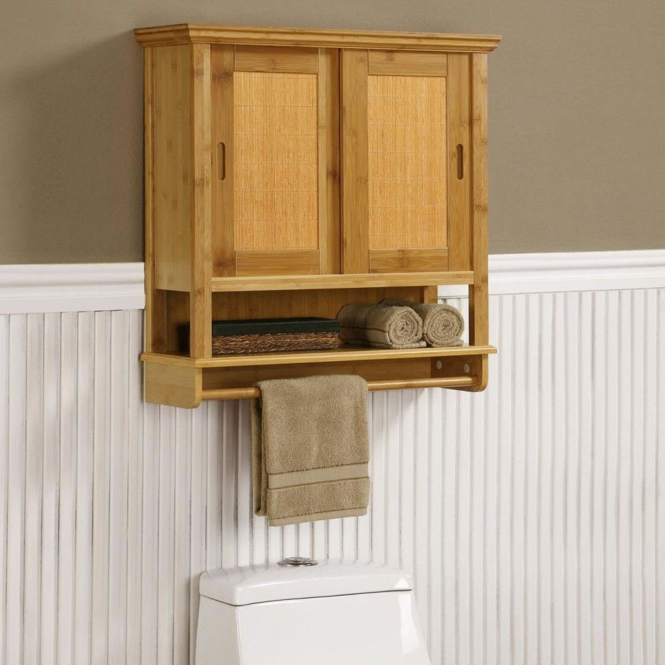 Rustic Unfinished Wood Wall Bathroom Cabinet With Towel Bar Feature And Bifold Door Bathroom Storage Cabinet Need More Space To Put Bath Items Bathroom