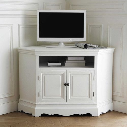 Mueble de tv blanco esquinero de madera de paulonia an for Decoracion mueble tv