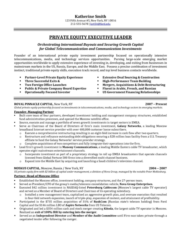 Private Equity Executive Resume Samples Resume Examples Professional Resume Samples Executive Resume Template