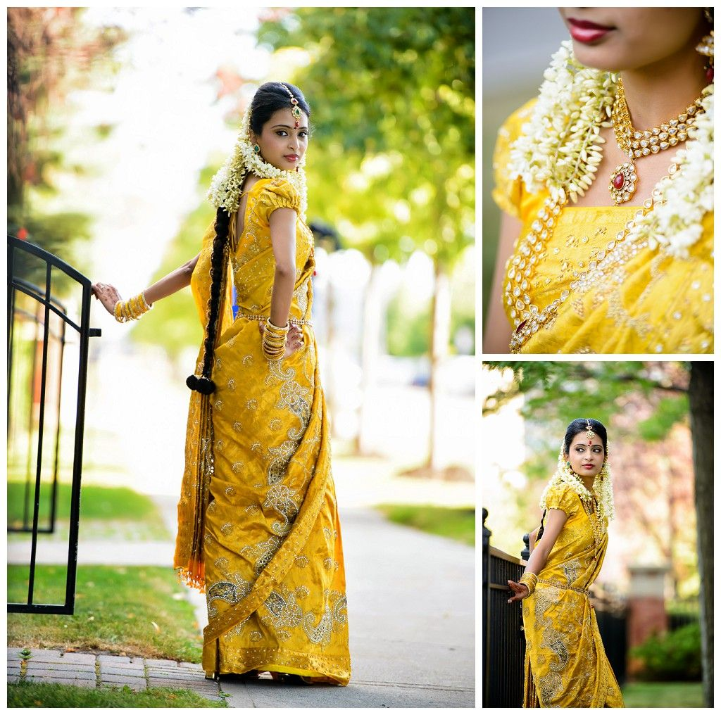 Wedding Hairstyle With Jasmine Flower: South Indian Bride. Temple Jewelry. Jhumkis.Yellow Silk