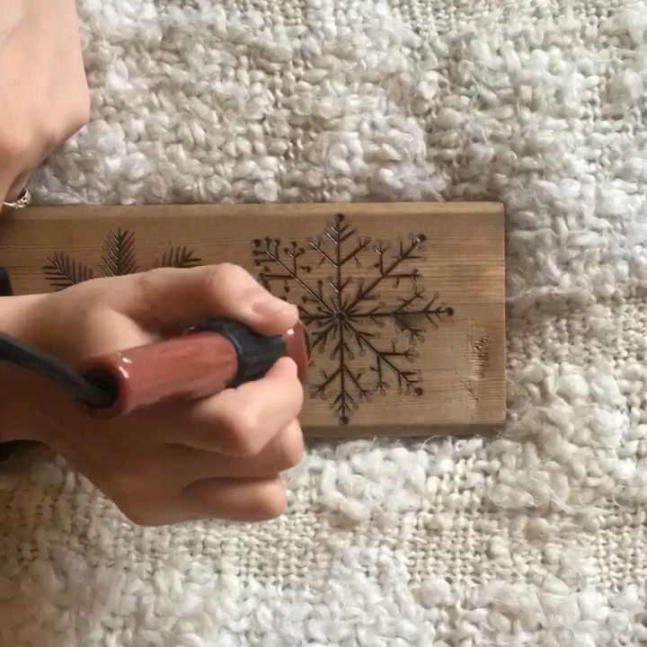 Photo of Nordic Christmas Wood Burned Snowflake Sign