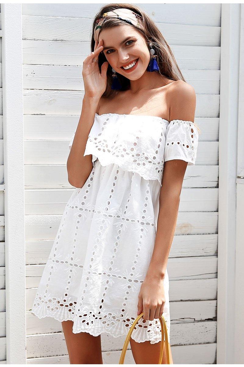 Off shoulder white lace dress women Hollow out streetwear casual dress  Loose short summer dress female  promdresses  weddingdresses  dresses   swimsuits ... ced8dde1e1