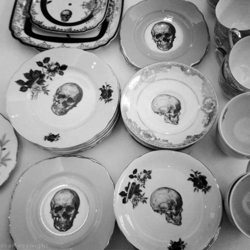 Skull plates TrixieDelicious on Etsy. Look at this spin on vintage dishes. What a conversation piece at dinner! & Love the skull plates! Halloween plates ... would be fun to have ...