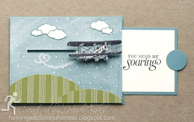 Stampin' Up Sky Is the Limit Pull-Tab Slider Card by #RunningwScissorsStamper, airplane, Wildflower Fields