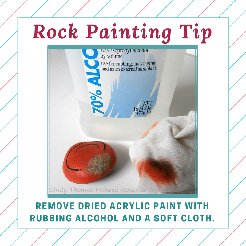 Remove Dried Acrylic From Painted Rocks With Rubbing Alcohol Painted Rocks Stone Art Stone Painting