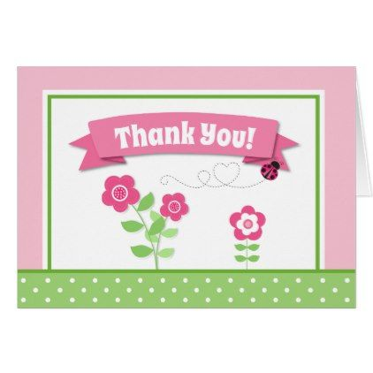 Ladybug Thank You Card Folded Note Card Note Cards