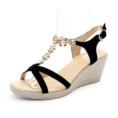 Mujer Zapatos Semicuero Verano Confort Sandalias Tacón Bajo Puntera abierta Beige / Azul / Rosa jZGr87rxI