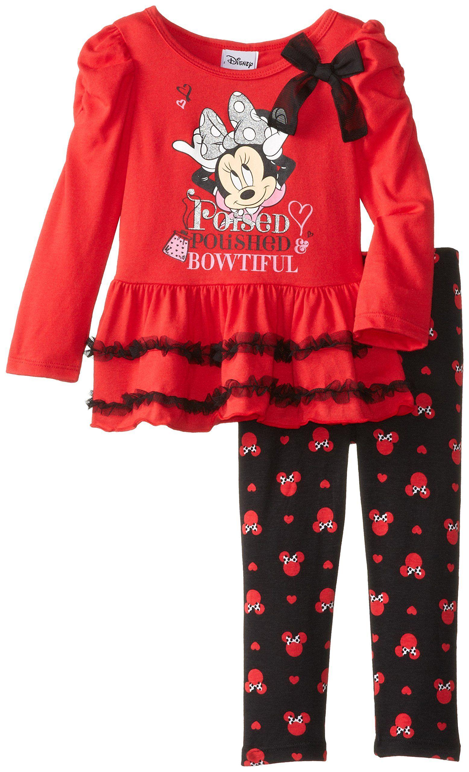 Disney Little Girls Minnie Mouse 2 Piece Bowtiful Long Sleeve