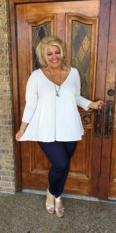 CREAM Deep V-Neck Contrast Solid Tunic