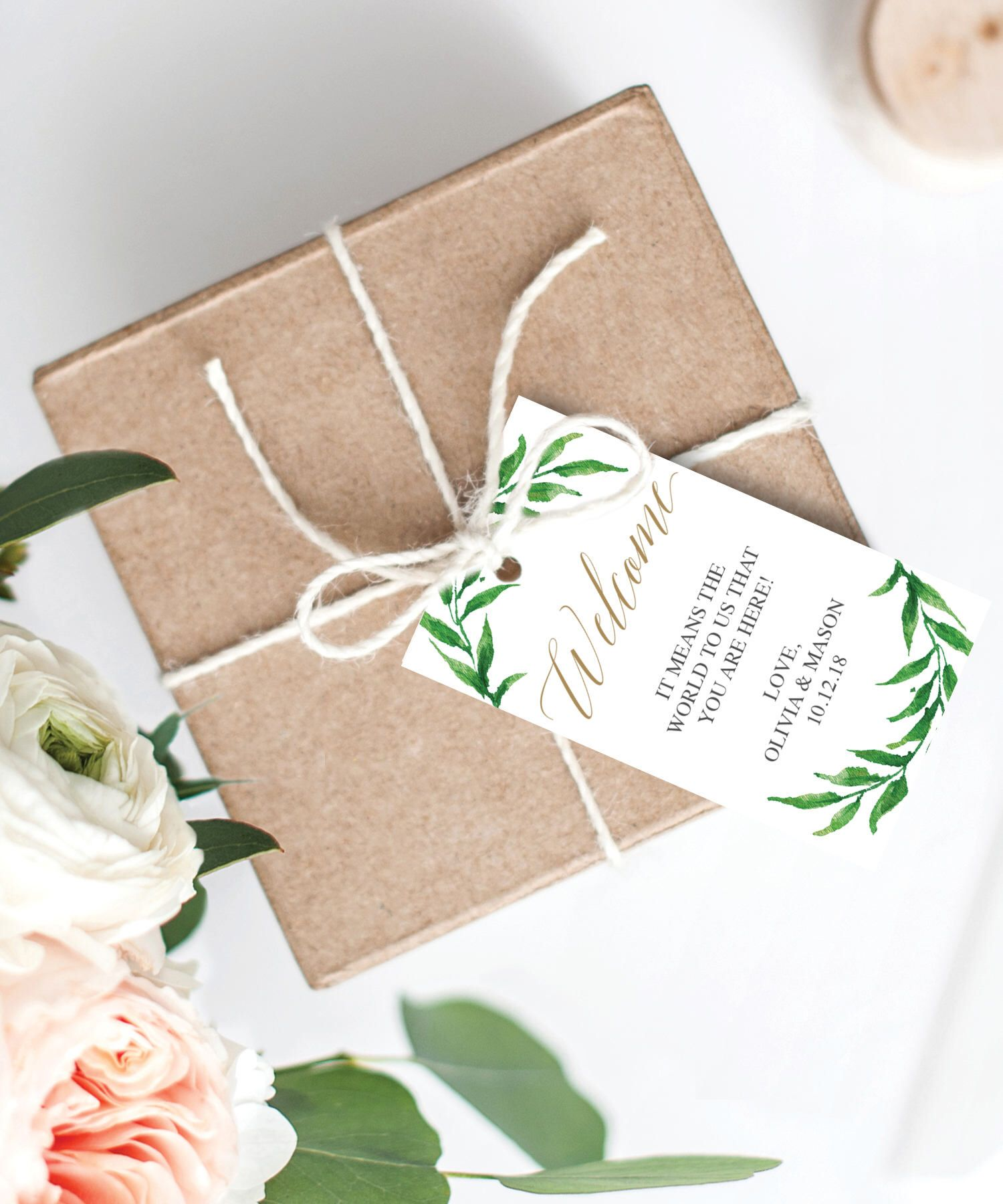 Greenery Welcome Tags - Vertical Welcome Tag - Editable Tag - Gift ...