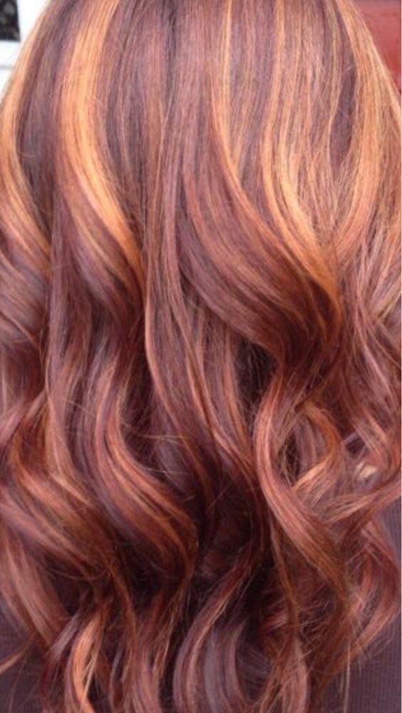 Red Copper Highlights Hair Baylage Hair Hair Highlights Hair Color Auburn