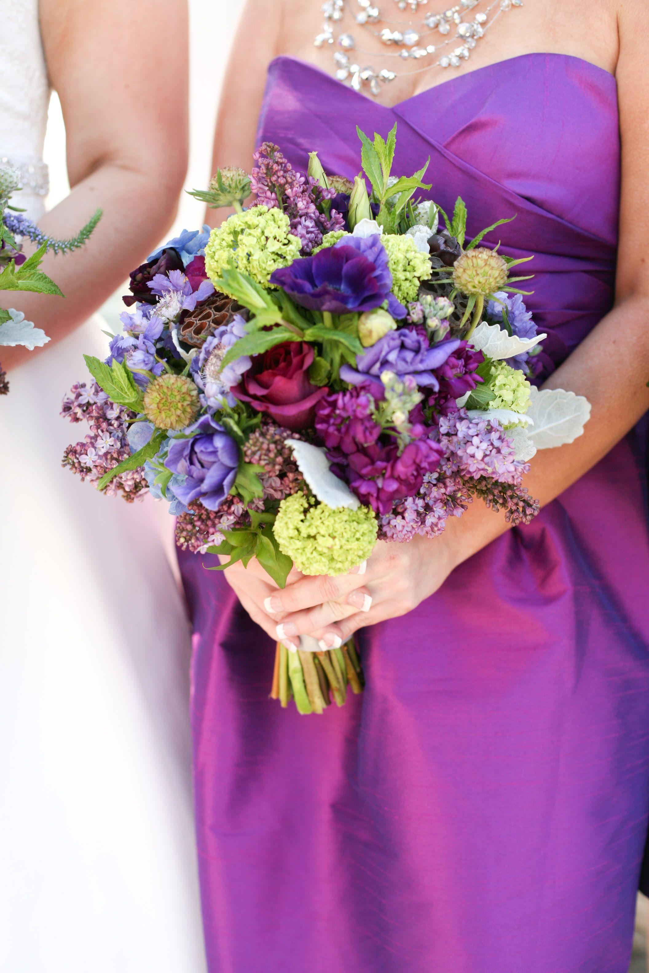 Pink not purple wildflower bouquet purple and grey wedding