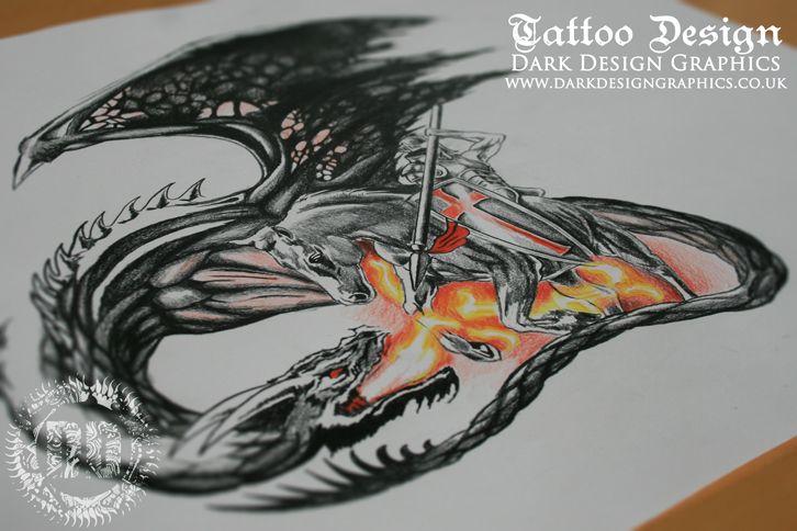 st george custom tattoo design from dark design graphics. Black Bedroom Furniture Sets. Home Design Ideas