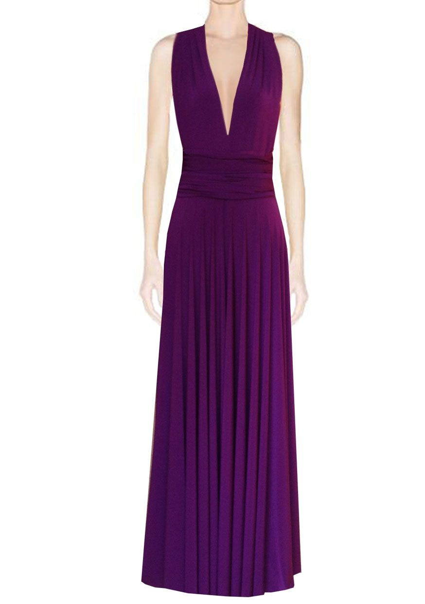 0049e5ff267 Long infinity bridesmaid dress Plum convertible gown for prom ...