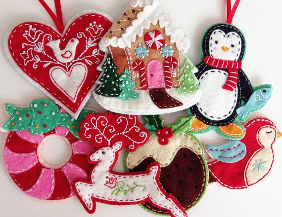 felt christmas ornaments pdf pattern embroidered ebook instant download on etsy 500 - Embroidered Christmas Ornaments