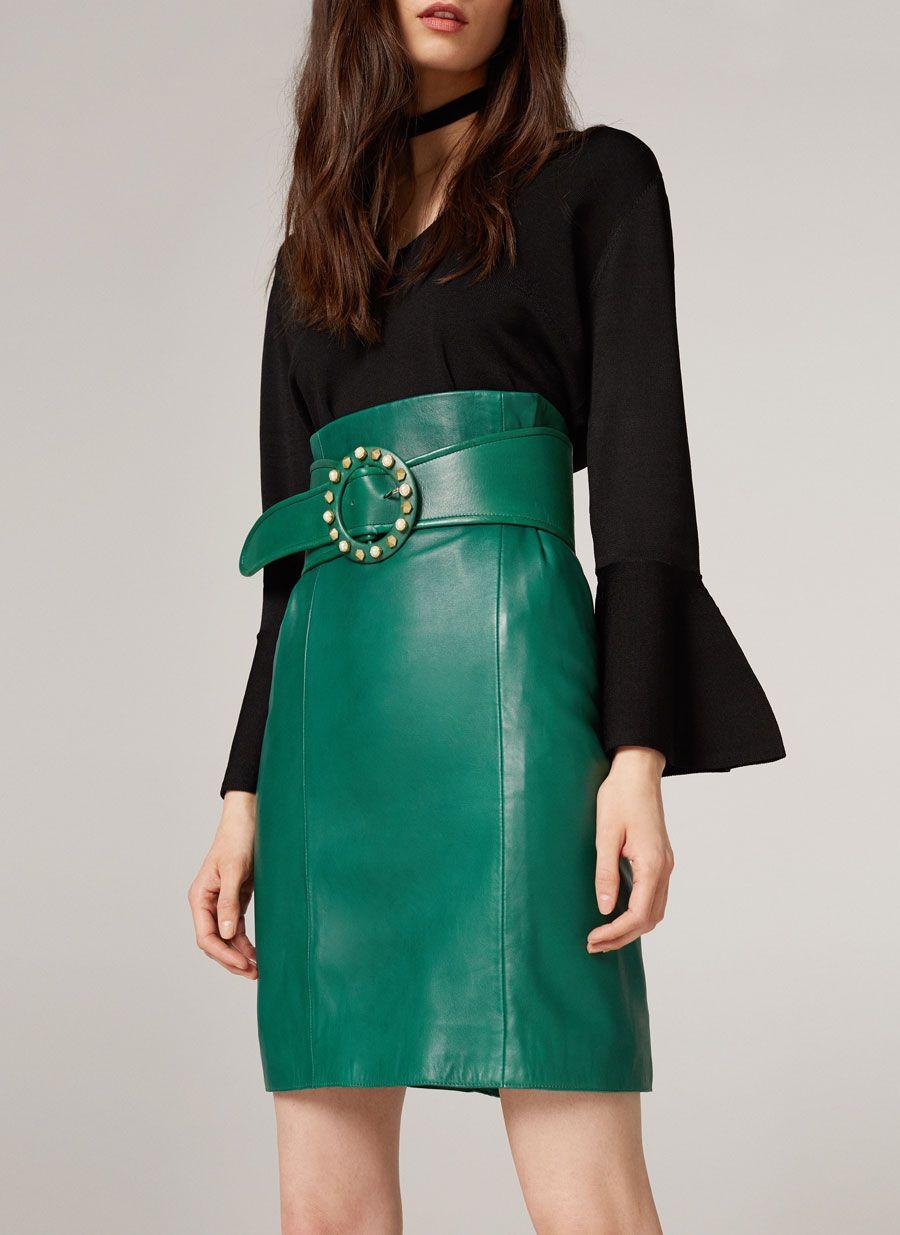 f8f67dffb Falda piel verde cinturón | Moda | Cuero verde, Faldas y Cinturón verde