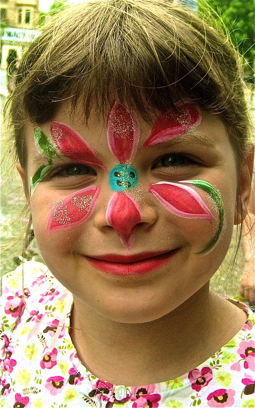 Face painting..spring flower ...Hearts face painting.NYC