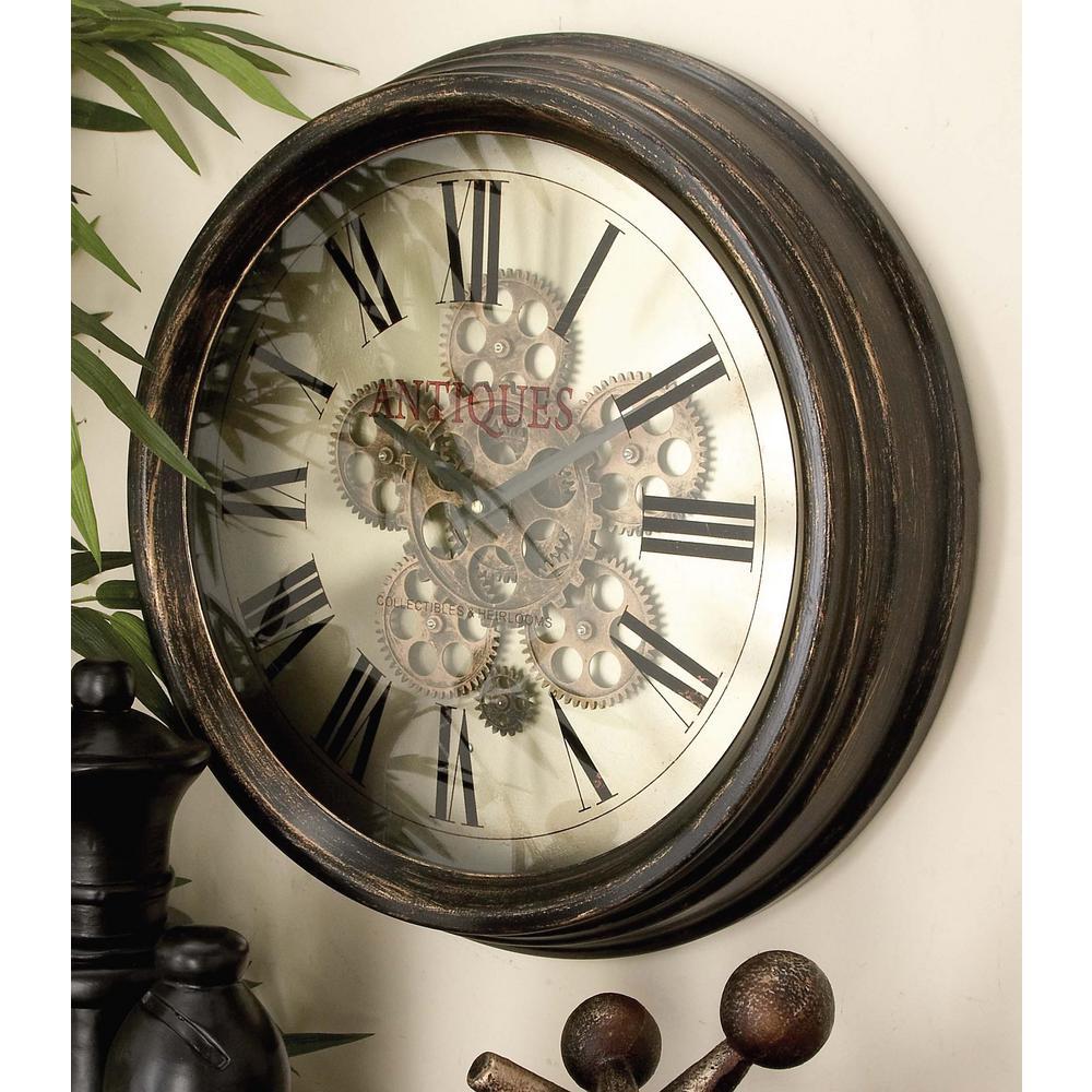 Litton Lane 18 In Vintage Gear Wall Clock 66974 The Home Depot Gear Wall Clock Metal Wall Clock Wall Clock Working gear wall clock