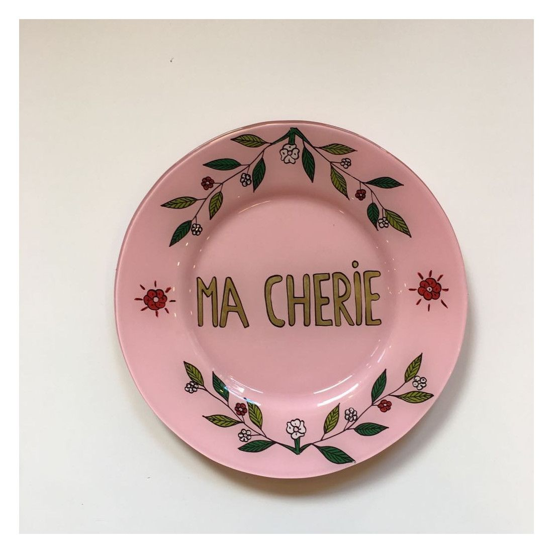 Hand Painted Pink Plate Ma Cherie Hand Painted Plates Plates Painted Plates