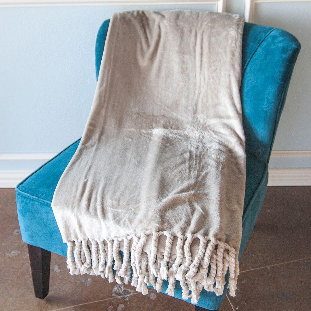 Carlisle microplush throw blanket with chunky twisted fringe