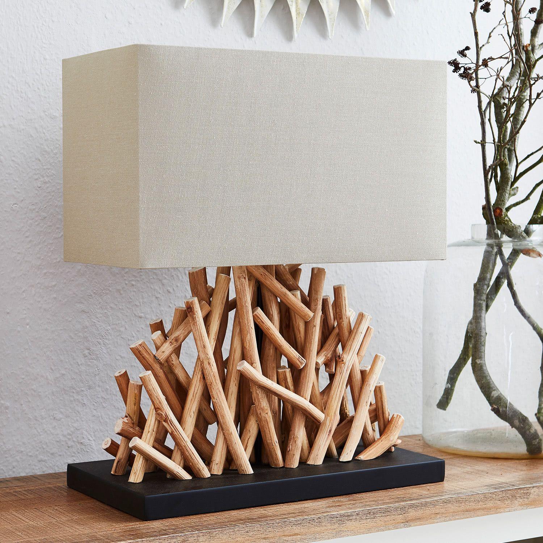 Natürliche Tischlampe PURE NATURE 35cm Walnussholz Tischlampe Nachttischlampe