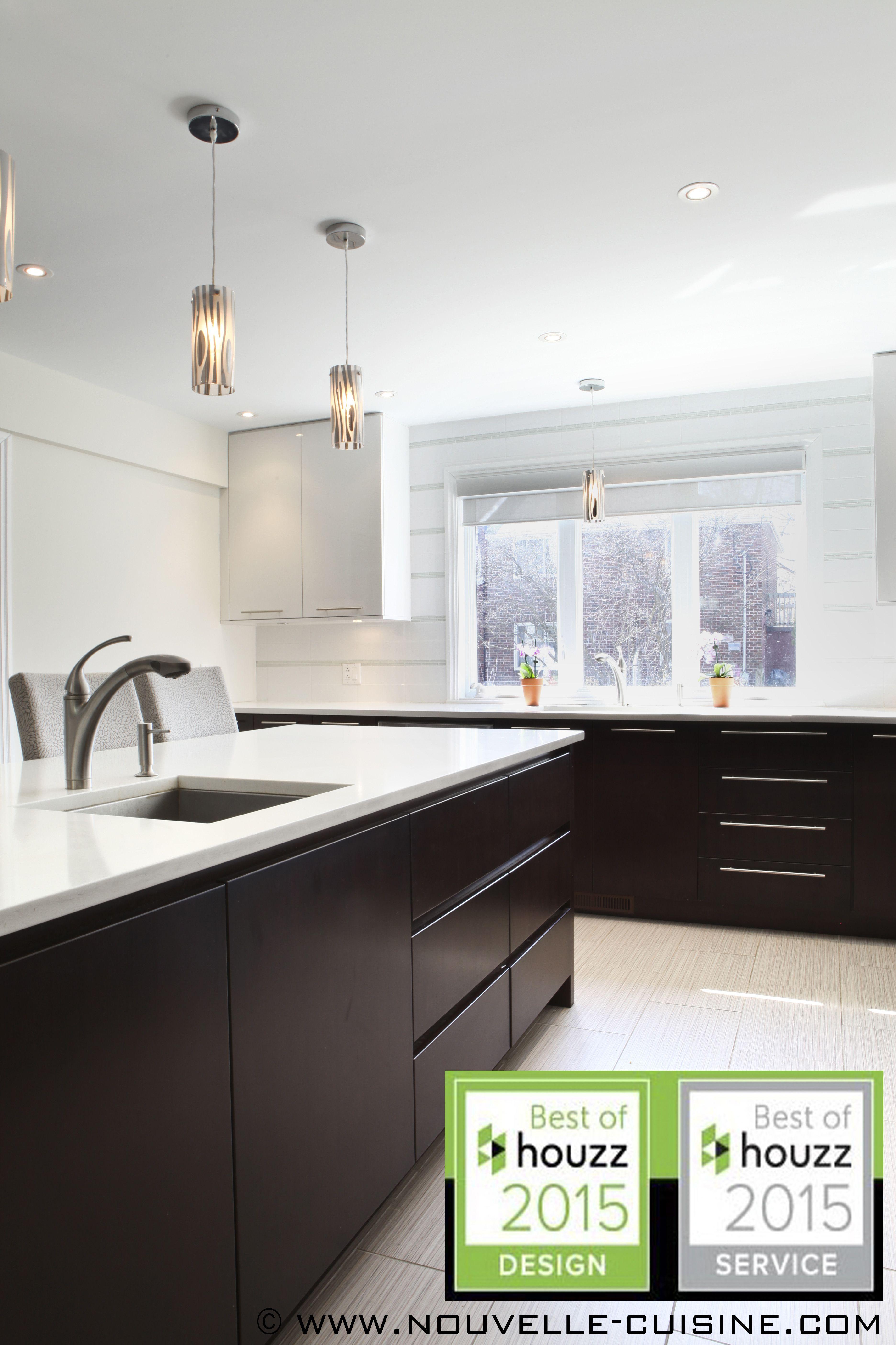 Armoire Comptoir De Famille acrylic kitchen cabinets and quartz countertops. / armoires