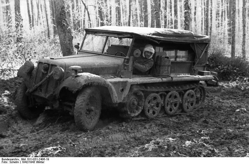 German half-trak stuck in the mud. Russia 22 December 1942