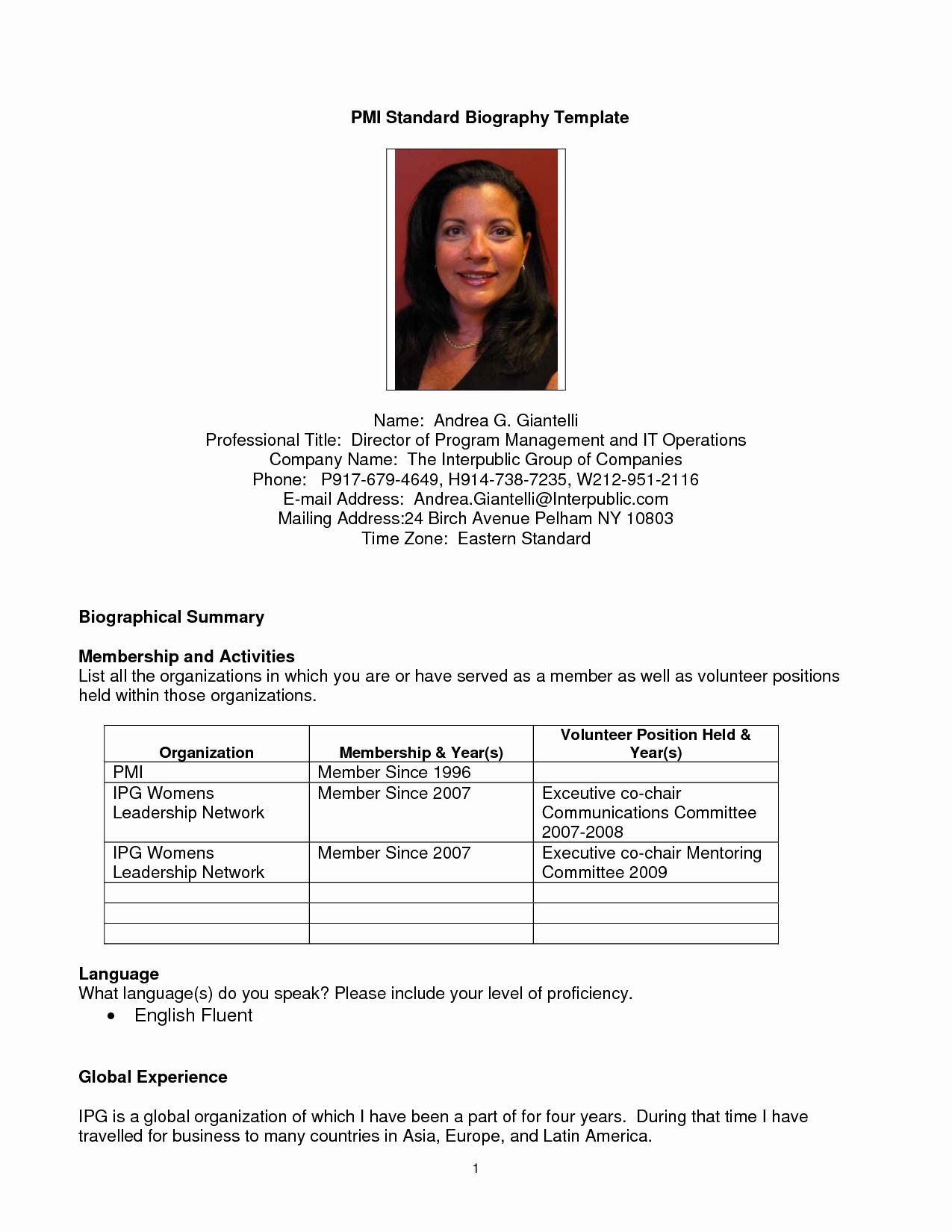 Biography Template For Students New Student Biography Example Bio Examples Biography Template Biography Sample Personal Biography