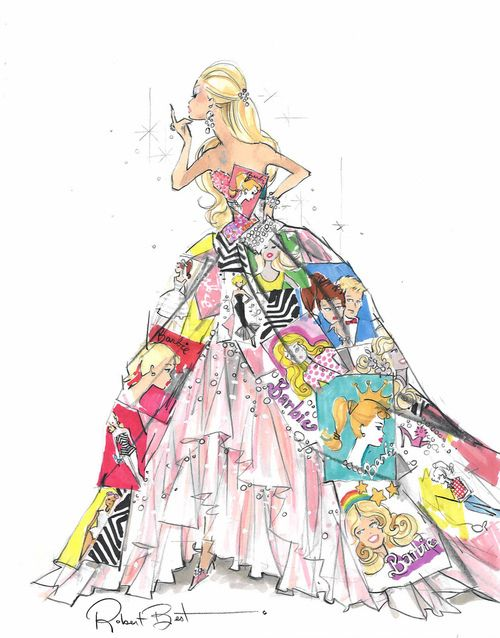 ca82bfc45 A gorgeous drawing of a Barbie inspired princess gown.
