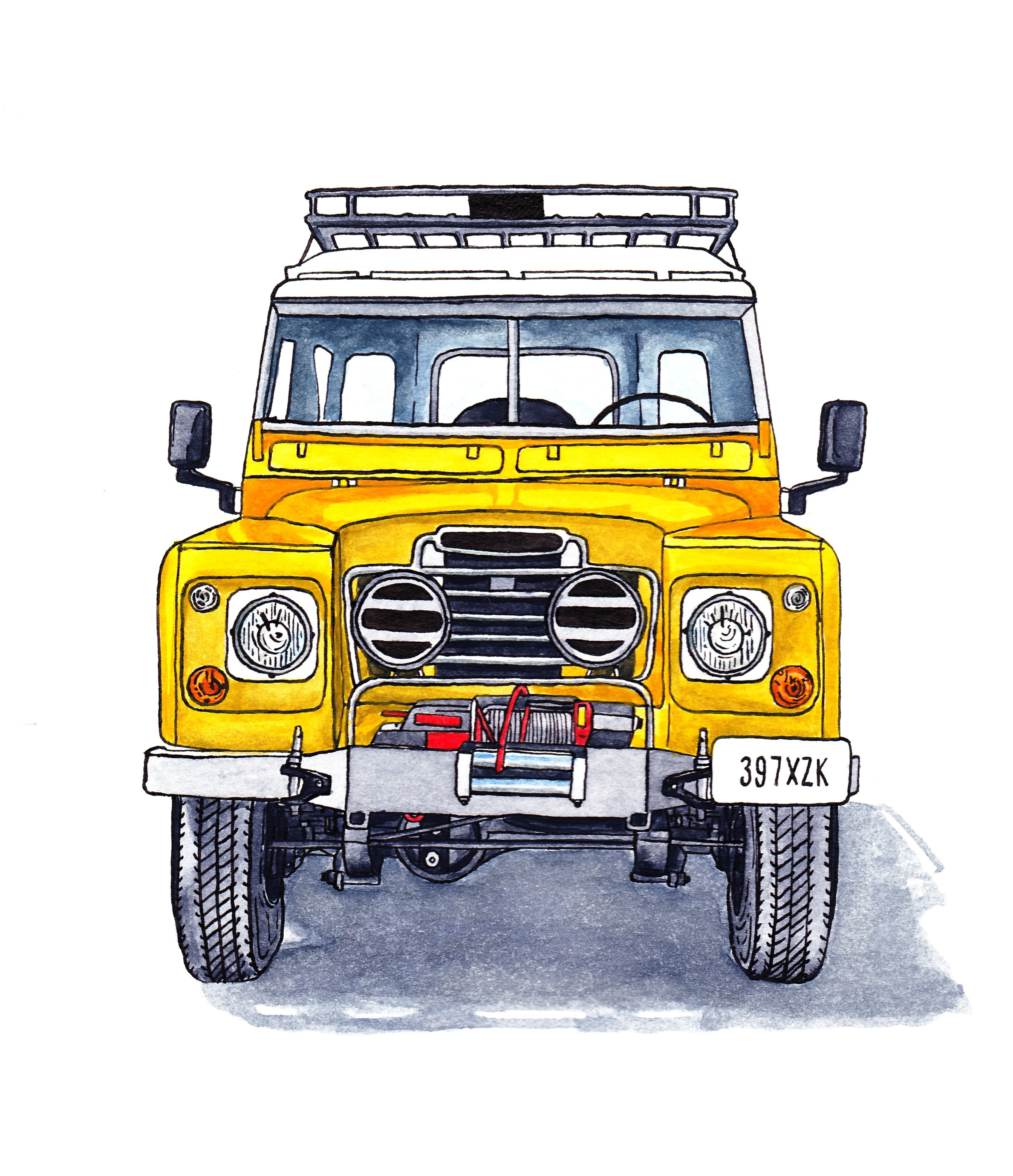 Landrover Defender Land Rover Series 109: Land Rover Series III Ink And Watercolour Illustration
