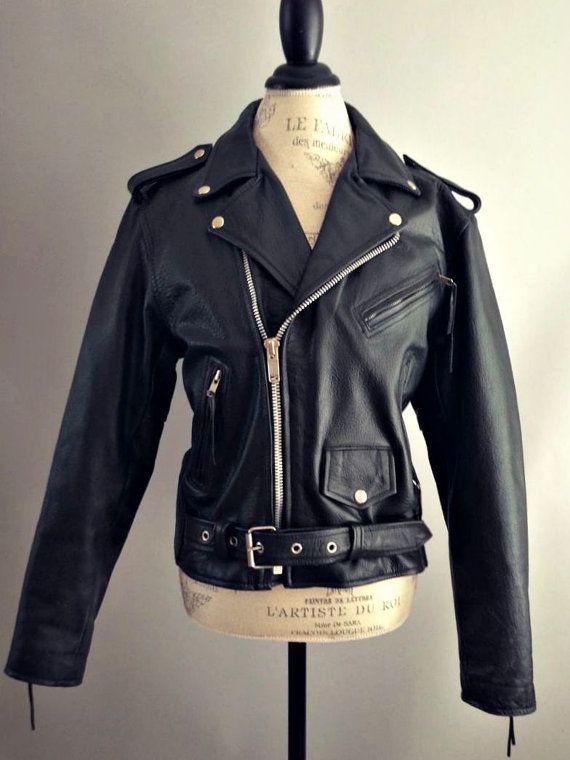 Vintage Black Leather 80 39 S Vtg 90 39 S Motorcycle Jacket Biker Moto Coat Buckle Belted Biker Punk R Black Leather Motorcycle Jacket Jackets Black Leather