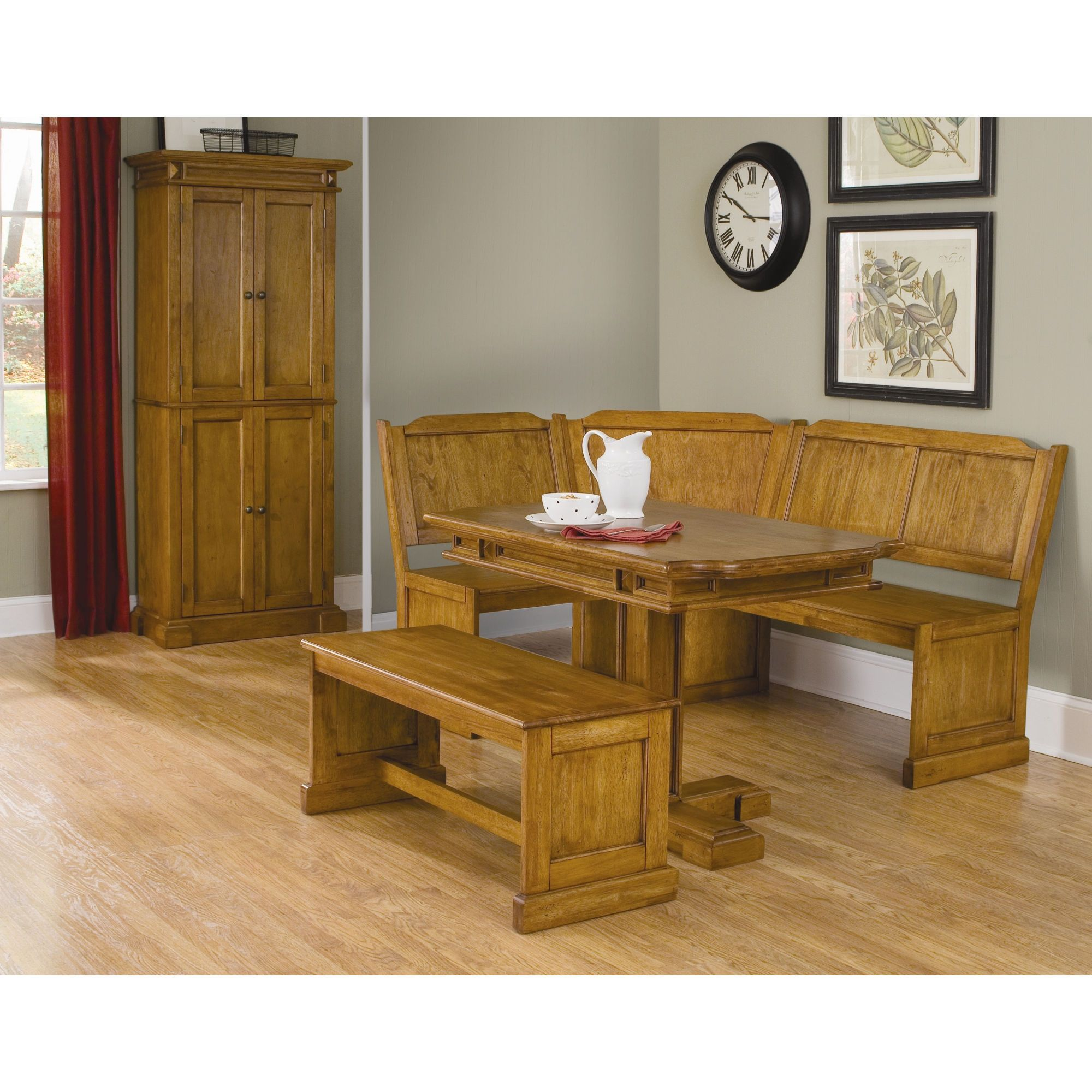 Home Styles Corner Nook with Rectangular Table and Bench ...